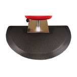 Refelx 3' x 5' Semi-Circle With Square Base Black Salon Mat