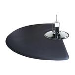 3'x5'  1/2 Circle Salon Mat with Chair Depression - Black